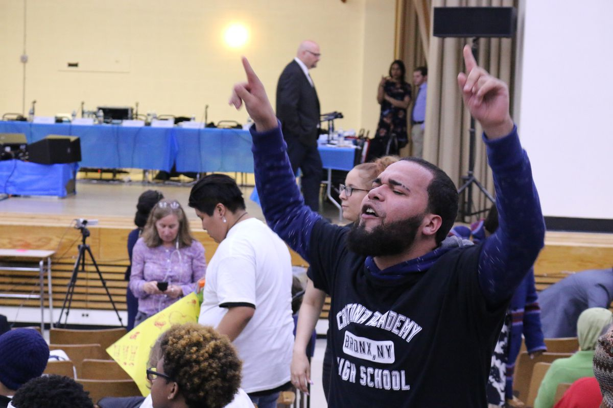 Supporters of Crotona Academy protested against the city's plans to close it at a Panel for Educational Policy meeting.