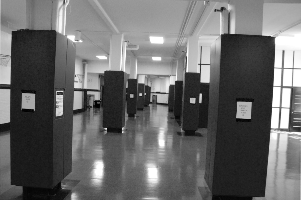 The converted gym on the bottom floor at P.S. 3 served as a evacuation shelter for hundreds of students on Sept. 11, 2001.