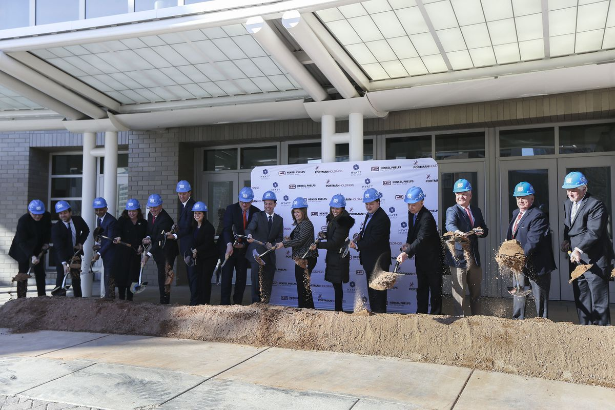 Officials conduct a groundbreaking ceremony for the Hyatt Regency Salt Lake City outside the Salt Palace Convention Center on Friday, Jan. 10, 2020. Construction on the hotel is scheduled to start Jan. 13 and the grand opening is scheduled for October 2022.