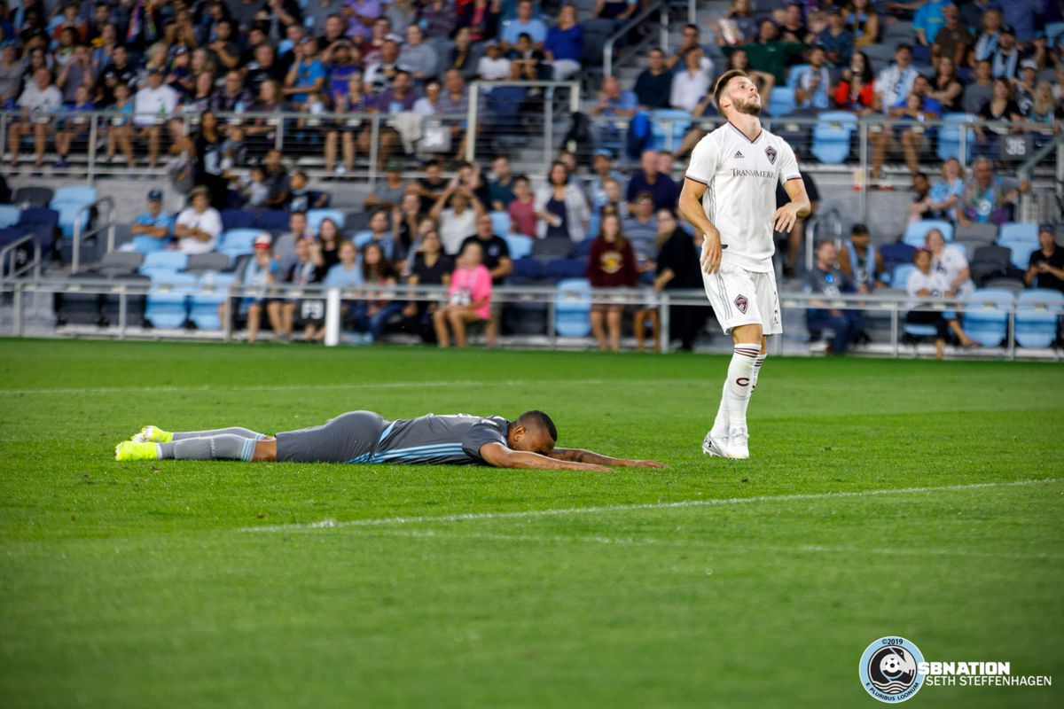 August 14, 2019 - Saint Paul, Minnesota, United States - Minnesota United forward Angelo Rodriguez (9) is left frustrated with the missed goal while Colorado Rapids defender Keegan Rosenberry (2) is relieved during the match at Allianz Field.