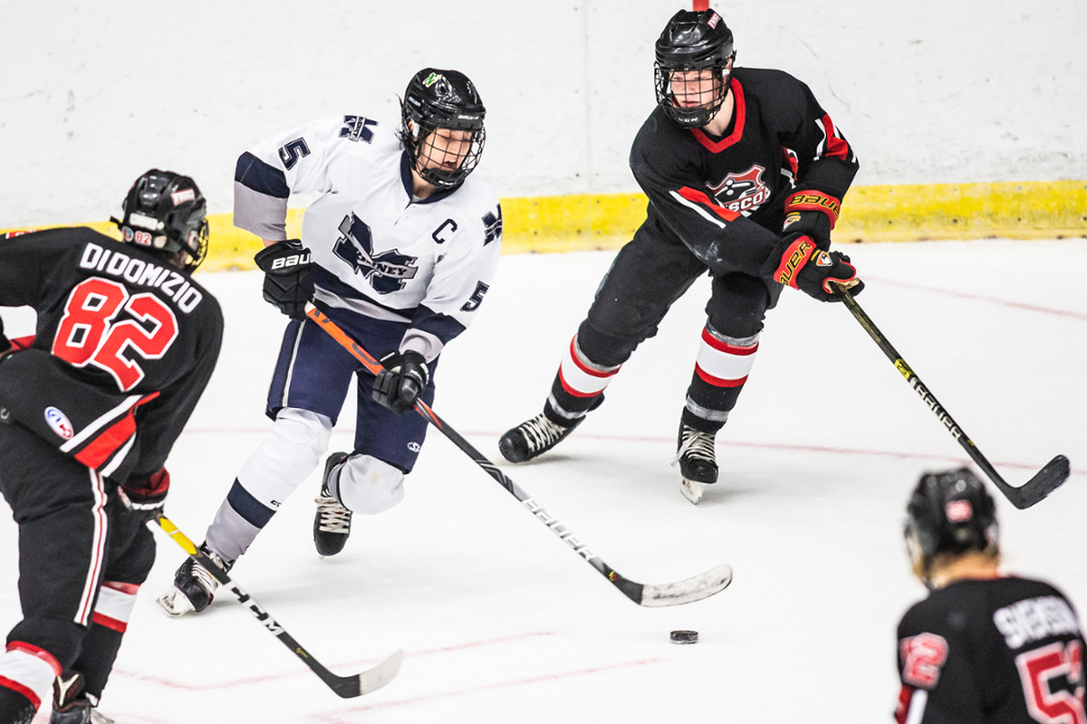 Student athletes from the AT&T Metroplex High School Hockey League play a game. The 54 teams in the North Texas league are celebrating its 25th anniversary in 2021-22.
