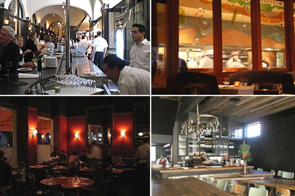 Clockwise from upper left: Pizzeria Ortica, Spago, Gjelina, Pizzeria Mozza.