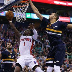 Detroit Pistons guard Reggie Jackson (1) gets off a shot with Utah Jazz center Rudy Gobert (27) defending as the Utah Jazz and the Detroit Pistons play at Vivint Smart Home arena in Salt Lake City. The Jazz won, 110-77, on Friday, Jan., 13, 2017.