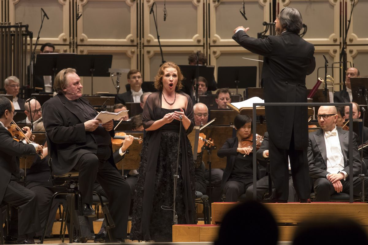 """Actor Gerard Depardieu (left) and mezzo-soprano Sasha Cooke with Maestro Riccardo Muti conducting the Chicago Symphony Orchestra and Chorus in Prokofiev's """"Ivan the Terrible."""" (Photo: Todd Rosenberg Photography)"""