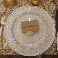 """Element 4: A Neutral Place Setting. """"Let the atmosphere shine!""""  (Anthropologie <a href=""""http://www.anthropologie.com/anthro/product/27310325.jsp"""">Anatolia Dinnerware</a>, $12—$18)"""