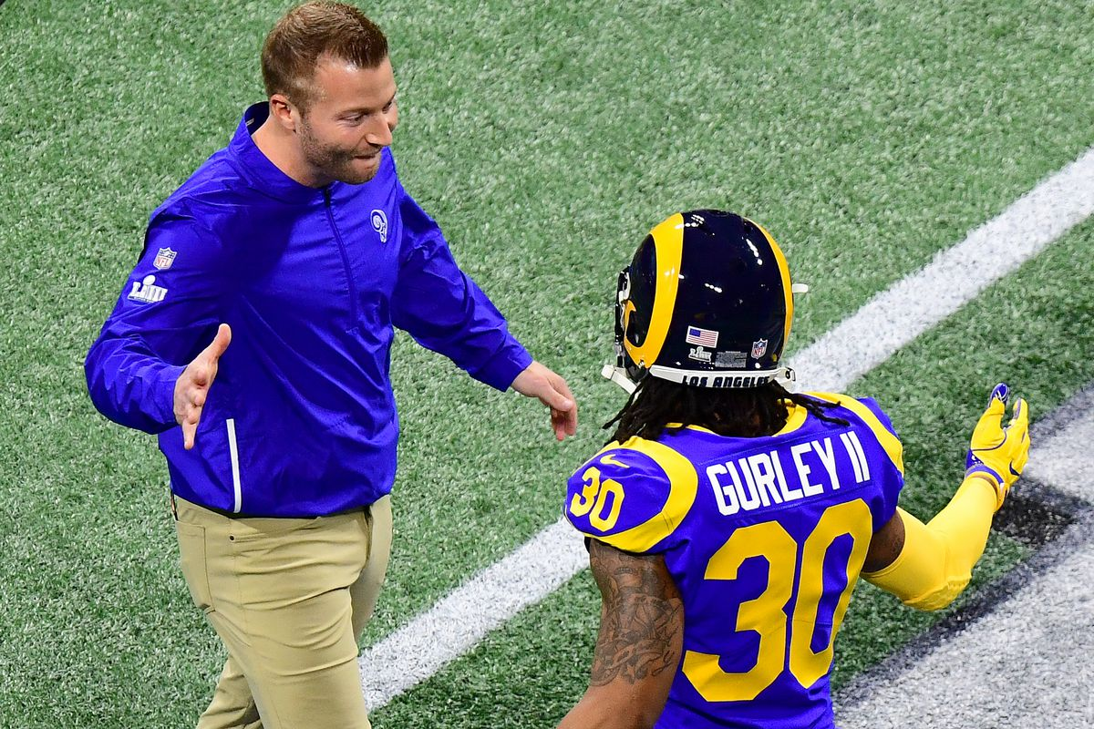 Los Angeles RamsHC Sean McVay and RB Todd Gurley during Super Bowl LIII, Feb. 3, 2019.