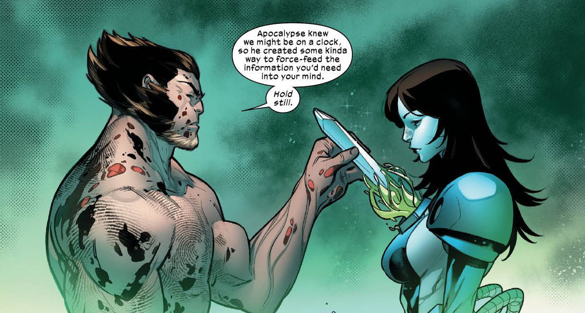 Wolverine places a crystal full of information into a receptacle in Moira X's chest in Powers of X #3, Marvel Comics (2019).