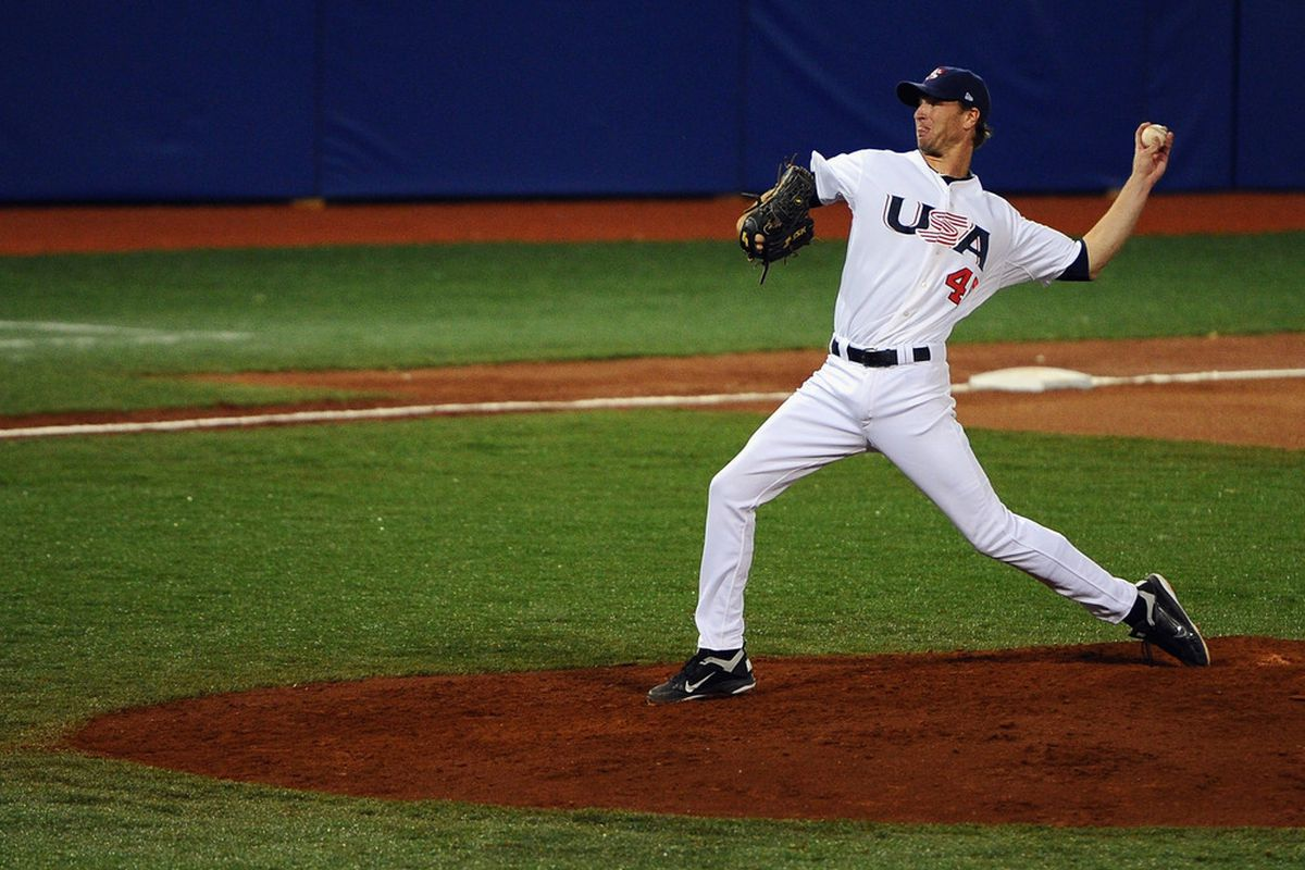 Andy Van Hekken pitches in the Gold Medal game between the US and Canada during the 2011 Pan American Games