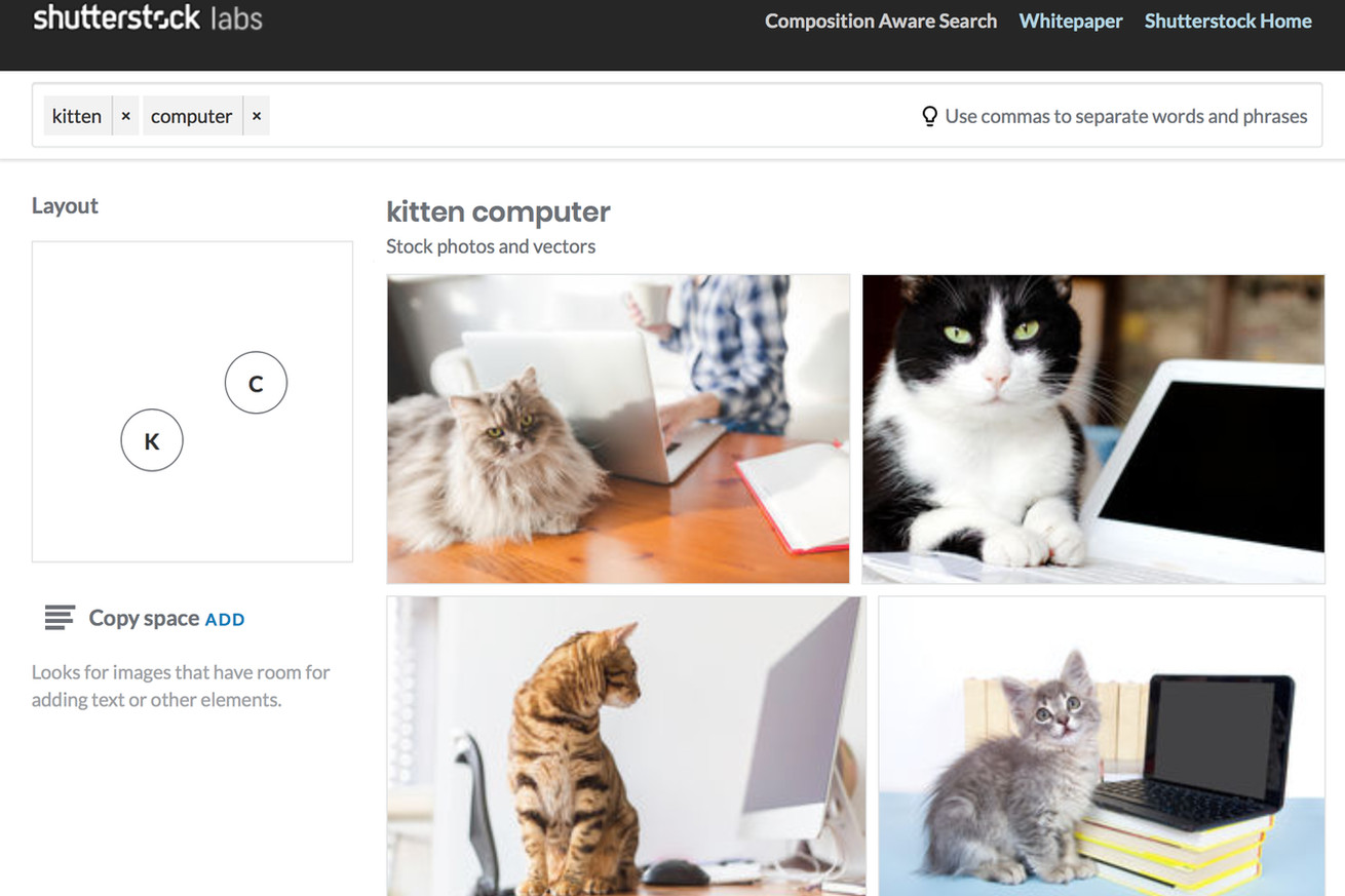 shutterstock uses machine learning to let you search images based on composition