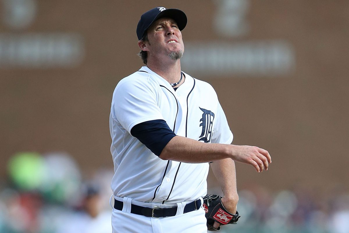 Joe Nathan reacts after walking Jason Kipnis of the Cleveland Indians to load the bases during the ninth inning of the game at Comerica Park on September 14, 2014