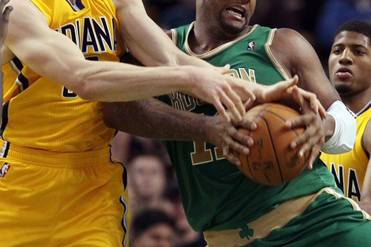 Glen Davis (pictured above) utterly dominates Tyler Hansbrough in a 'Awkward NBA Snapshot Face' competition, proving once against why the Celtics are still the team to beat in the East.