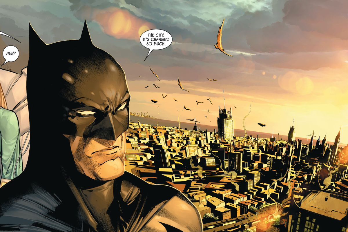 """""""The city,"""" Batman says, looking out over Gotham at dawn, """"it's changed so much"""" in Batman #100, DC Comics (2020)."""