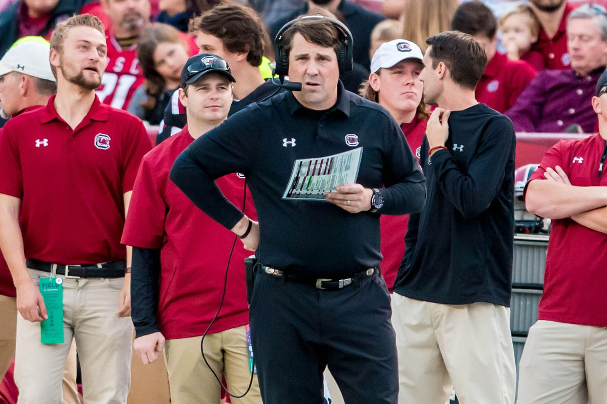 Nov 18, 2017; Columbia, SC, USA; South Carolina Gamecocks head coach Will Muschamp directs his team against the Wofford Terriers in the first half at Williams-Brice Stadium. Mandatory Credit: Jeff Blake-USA TODAY Sports