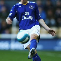 Leighton Baines of Everton in action during the Barclays Premier League match betweeen Derby County and Everton at Pride Park on October 28, 2007 in Derby, England.