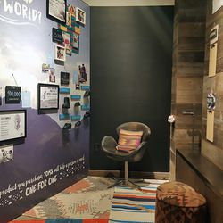 This cool corner will feature a virtual reality headset that'll transport viewers to TOMS's global missions.