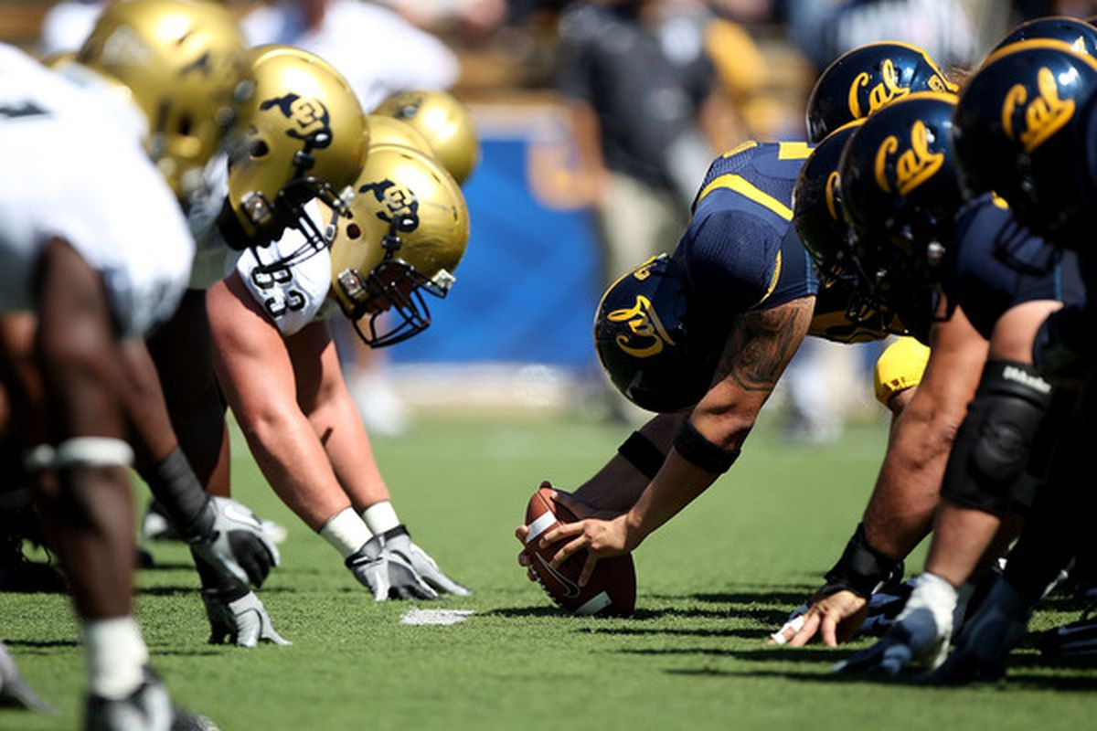 BERKELEY CA - SEPTEMBER 11: Members of the California Golden Bears line up against the Colorado Buffaloes at California Memorial Stadium on September 11 2010 in Berkeley California. (Photo by Jed Jacobsohn/Getty Images)