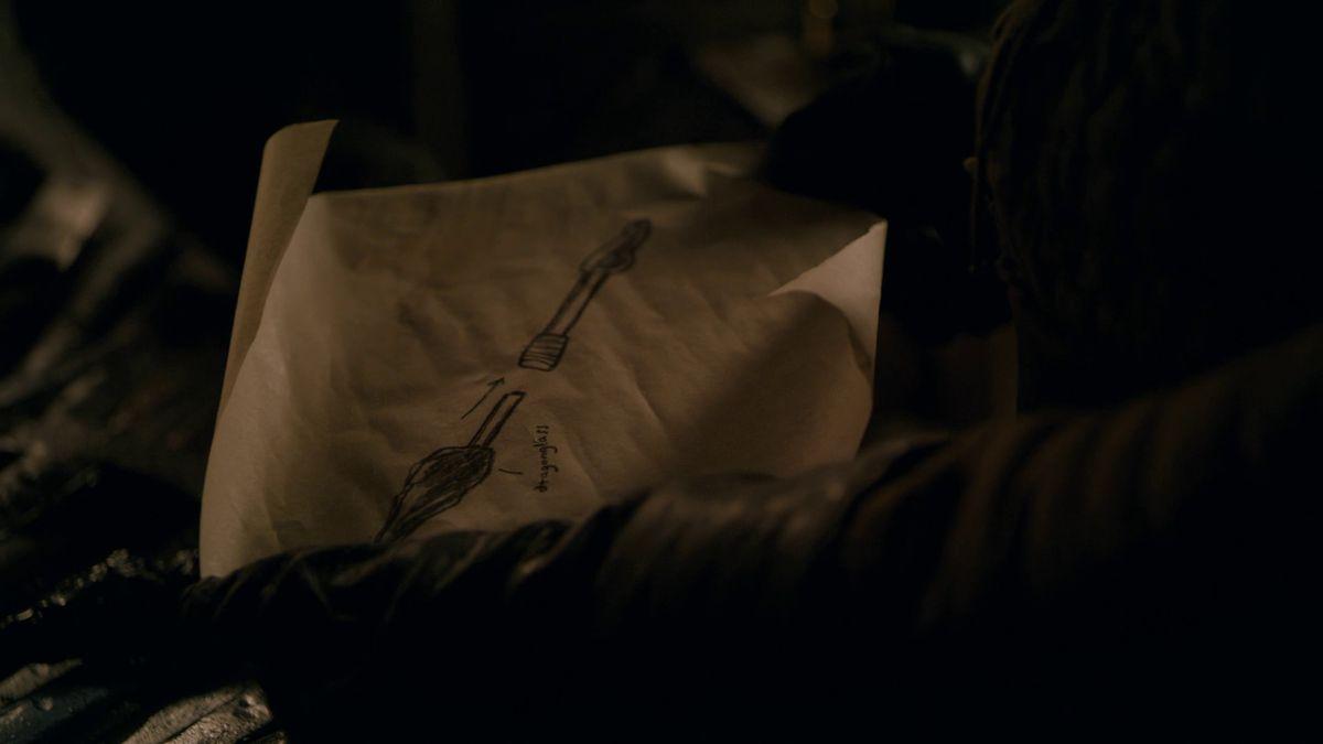 Game of Thrones S08E01 Arya's weapon blueprint
