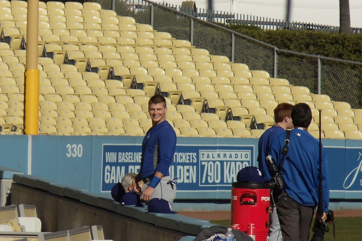 Griff Erickson, seen here at the 2011 Dodgers winter development camp at Dodger Stadium, was invited to his first major league spring training camp. (<em>Photo: Brandon Lennox   True Blue LA</em>)