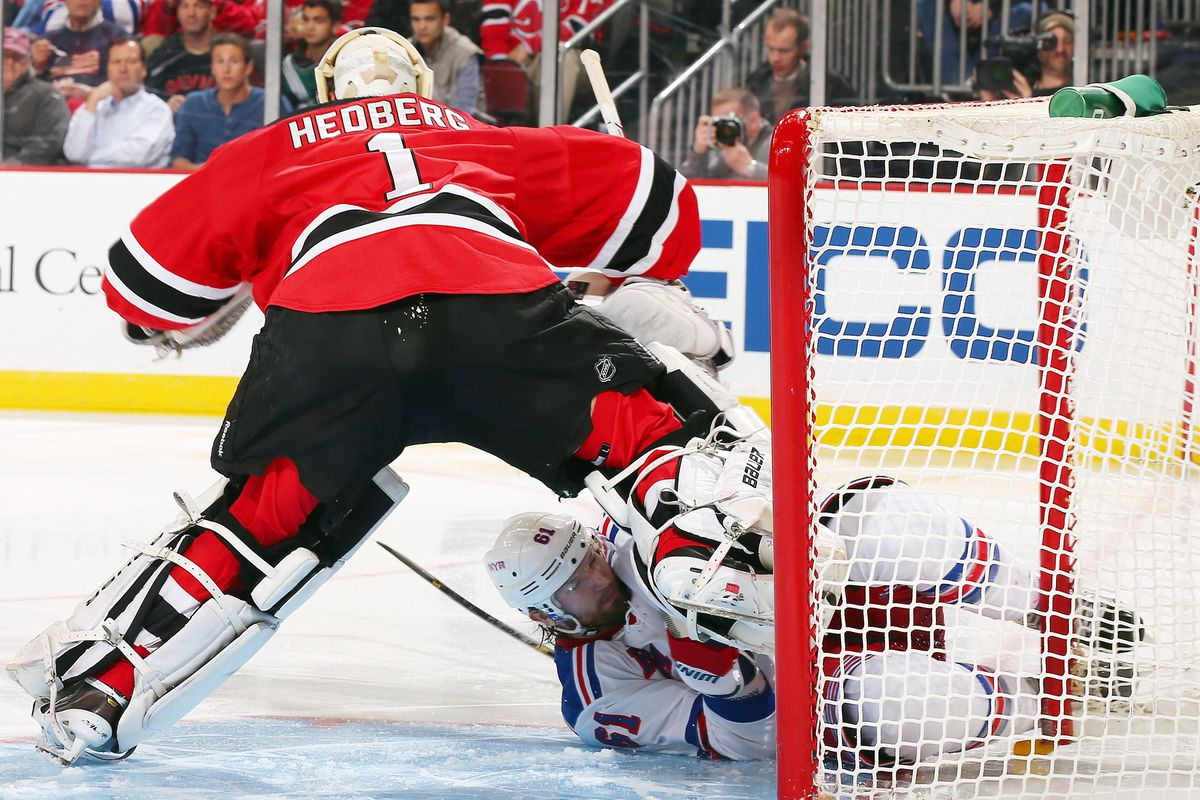 Rick Nash sliding into Johan Hedberg seems appropriate for this night.