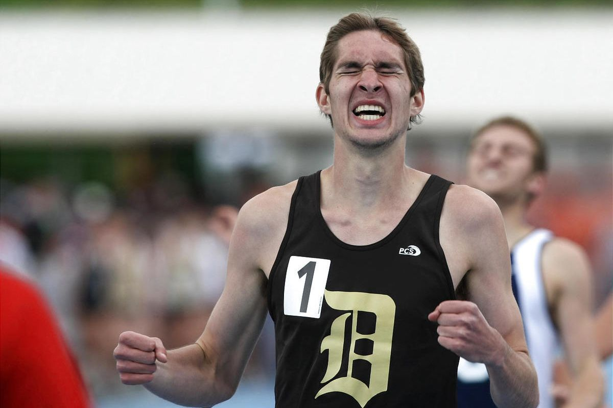 Brad Nye, of Davis, reacts to winning the 5A boy's 800 m during the state track and field championships at BYU in Provo on Saturday, May 21, 2011.