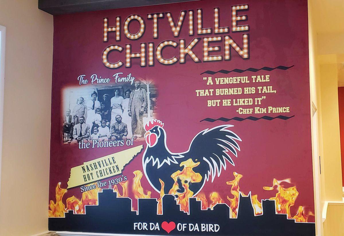 A mural at Hotville Chicken restaurant in Baldwin Hills