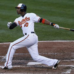 Baltimore Orioles' Adam Jones watches his two-run home run in the fourth inning of the first baseball game of a doubleheader against the Toronto Blue Jays in Baltimore, Monday, Sept. 24, 2012.