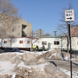 Construction trailers in the Gold Lot at Waveland & Clifton -