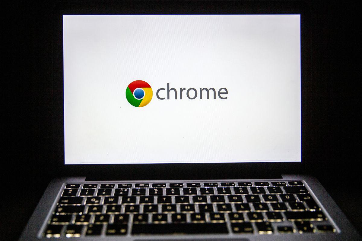 Google Chrome's logo is seen on a laptop screen.