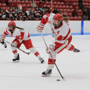 Sarah Lefort playing for the BU Terrier