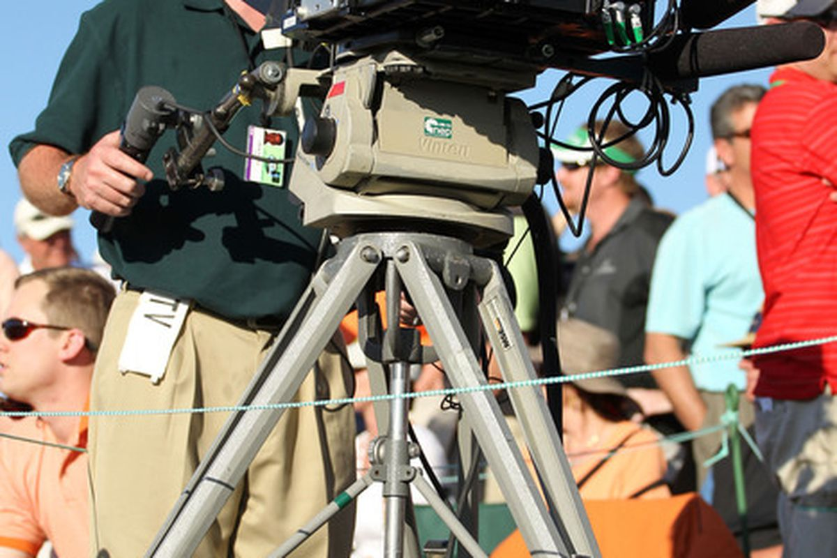 AUGUSTA, GA - APRIL 10:  A 3-D camera is used to cover the play during the third round of the 2010 Masters Tournament at Augusta National Golf Club on April 10, 2010 in Augusta, Georgia.  (Photo by Jamie Squire/Getty Images)