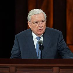 President M. Russell Ballard, acting president of the Quorum of the Twelve Apostles, speaks during the Sunday morning session of the 190th Semiannual General Conference of The Church of Jesus Christ of Latter-day Saints on Oct. 4, 2020.