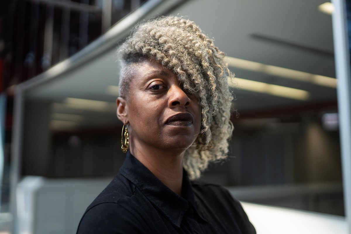 Sekile Nzinga, the state'snew chief equity officer, poses at the James R. Thompson Center Thursday afternoon.