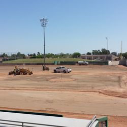 The field from behind the third-base dugout