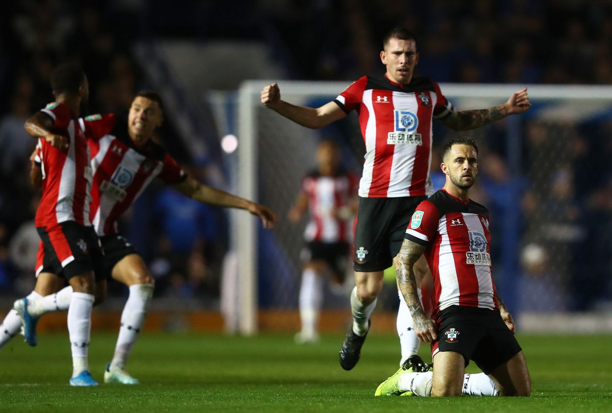 Danny Ings celebrating after he scored for Southampton against rivals Portsmouth