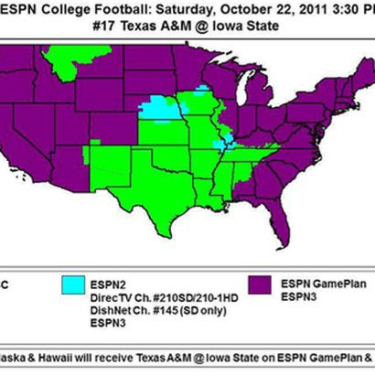 Iowa State versus Texas A&M coverage map. Green = ABC. Blue = ESPN2 on