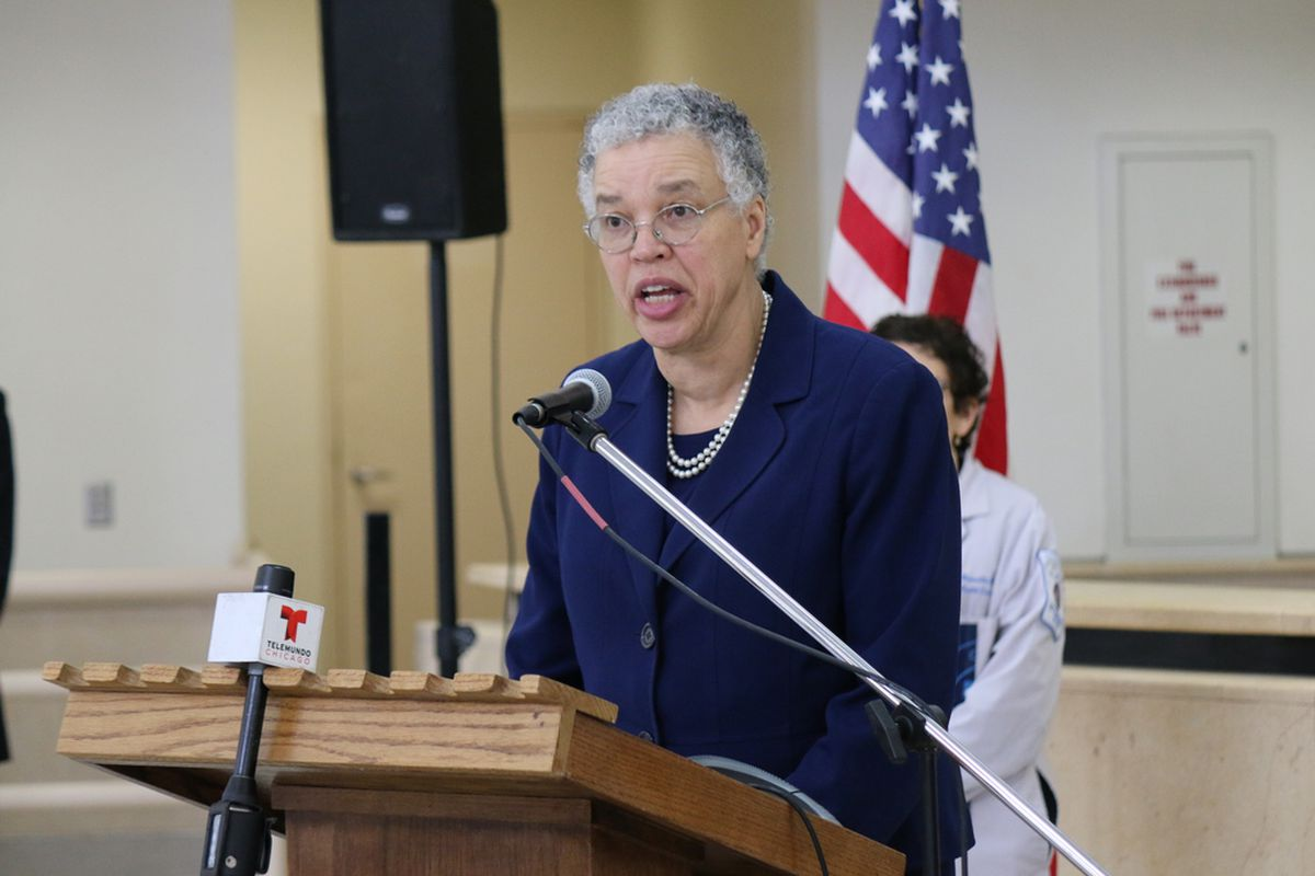 Cook County Board President Toni Preckwinkle speaks at a press conference about plans for Cook County Jail amid the COVID-19 pandemic last month.
