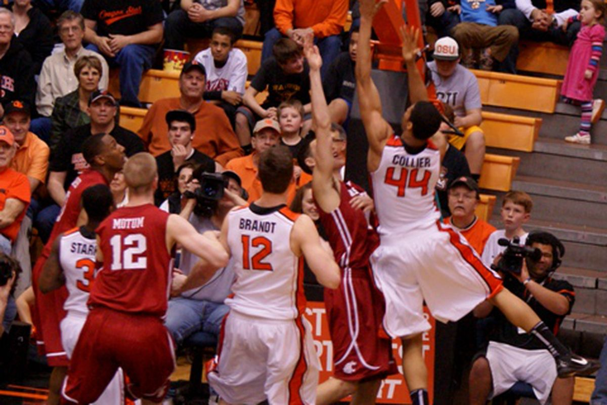Devon Collier (44) led Oregon St. against Washington St., with a 16 point, 10 rebound effort that was his career best in both cases.  <em>(Photo by Andy Wooldridge) </em>