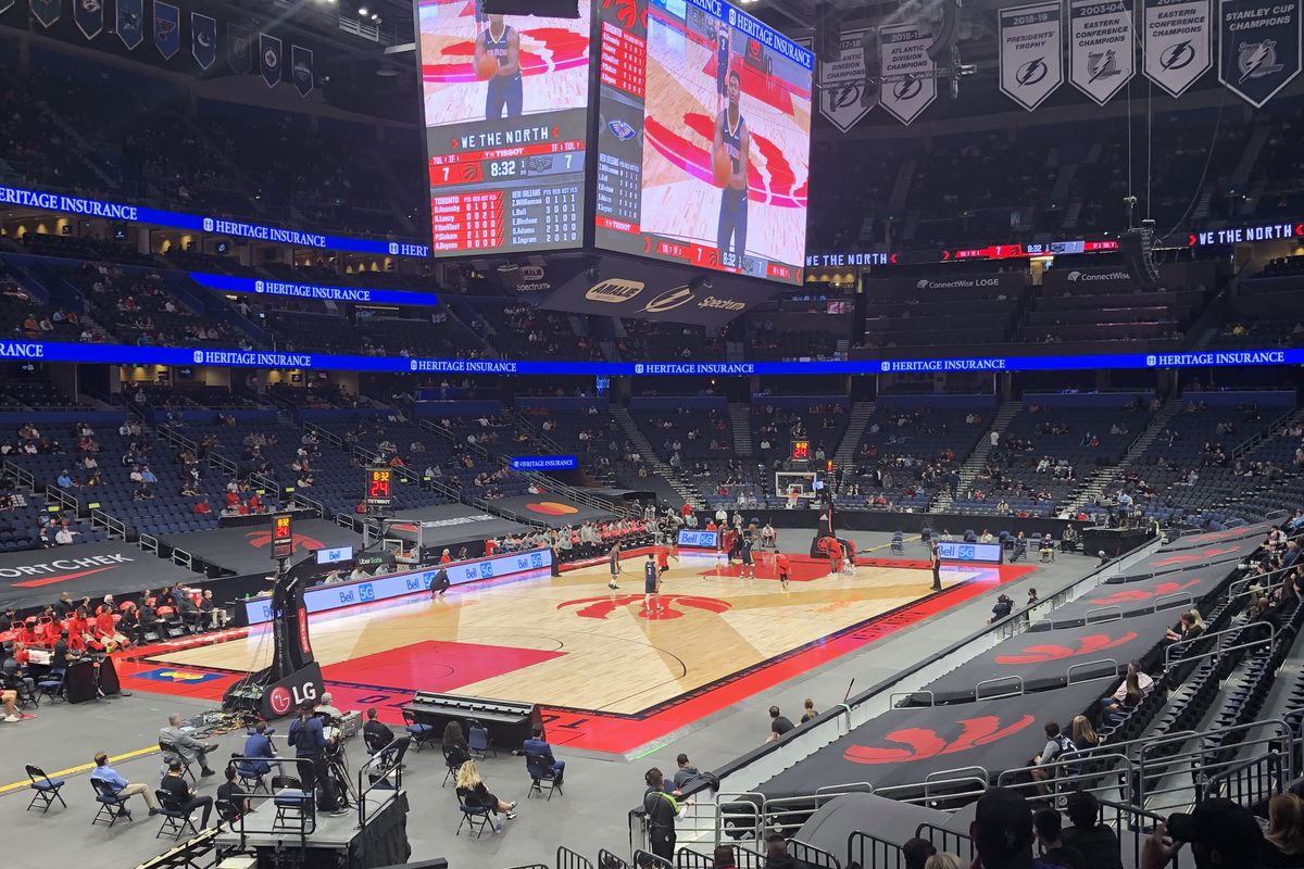 Amalie Arena before the New Orleans Pelicans vs. Toronto Raptors at Amalie Arena in Tampa, FL on December 23, 2020.