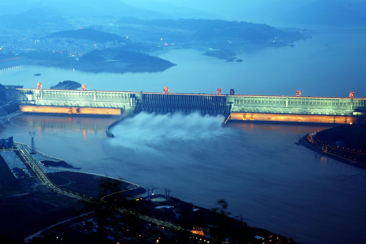 The Three Gorges discharges water during a flood peak July 08, 2012 in Hubei, China.
