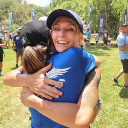 Catrina Allen is hugged after winning the Professional Disc Golf World Championships at Fort Buenaventura Park in Ogden on Saturday, June 26, 2021.
