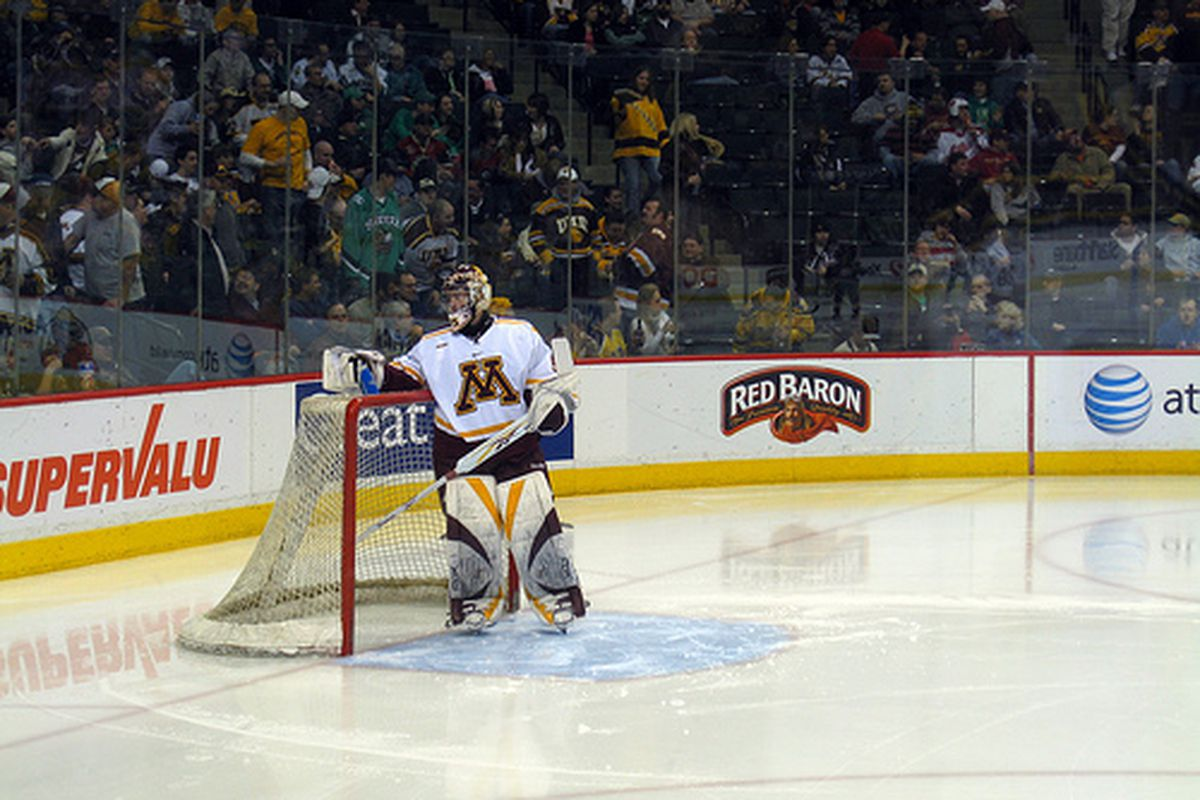 """Minnesota's Kent Patterson will try and match Milner save for save tomorrow night in the Frozen Four semifinals. (via <a href=""""http://www.flickr.com/photos/queen_of_subtle/3370550304/"""">the queen of subtle</a>)"""