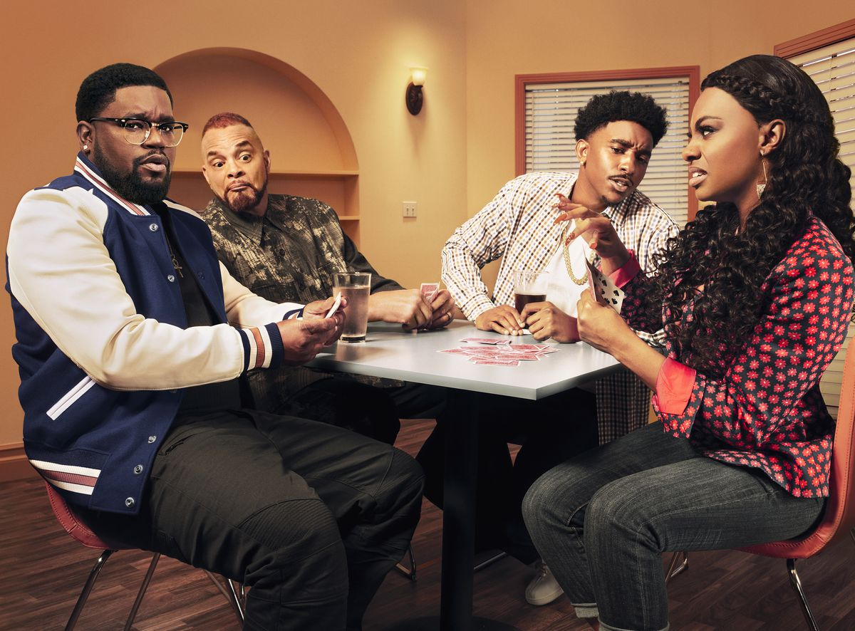 """Lil Rel Howery (from left), Sinbad, Jordan L. Jones and Jessica """"Jess Hilarious"""" Moore star on """"Rel."""" 