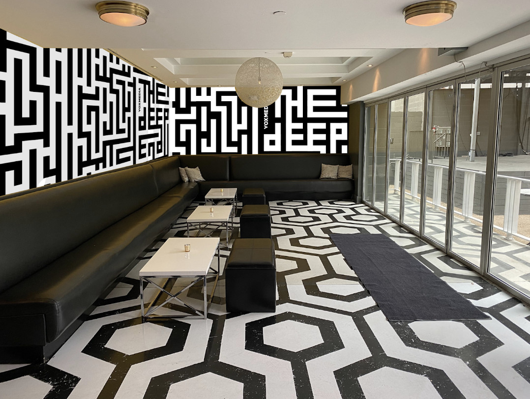 The VIP room in The Belmont with maze graphics on the walls