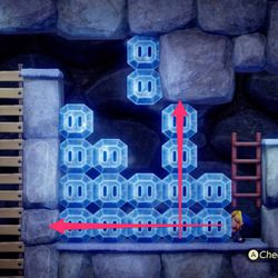 On the left side, climb down the ladder and destroy the bottom row, then destroy the vertical row. Jump the gaps to reach the ladder.