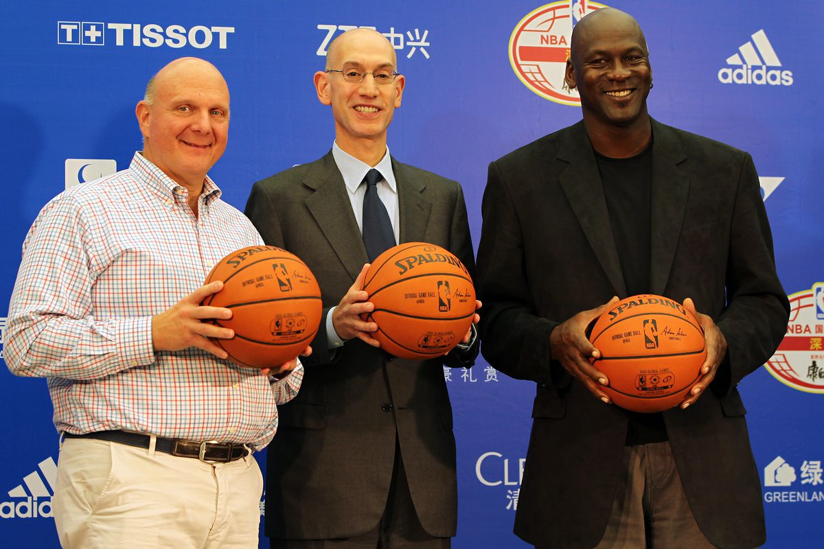 Adam Silver with two newer owners in the NBA: Steve Ballmer and Michael Jordan.
