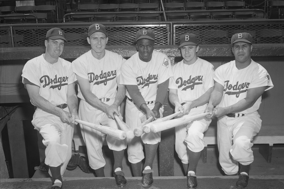 Five Brooklyn Dodgers Posing with Bats Together