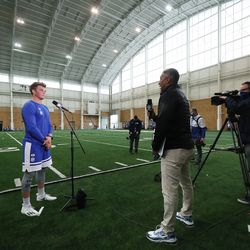 Quarterback Zach Wilson in interviewed during BYU pro day in Provo on Friday, March 26, 2021.