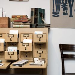 A card catalogue and books in the vintage pop-up