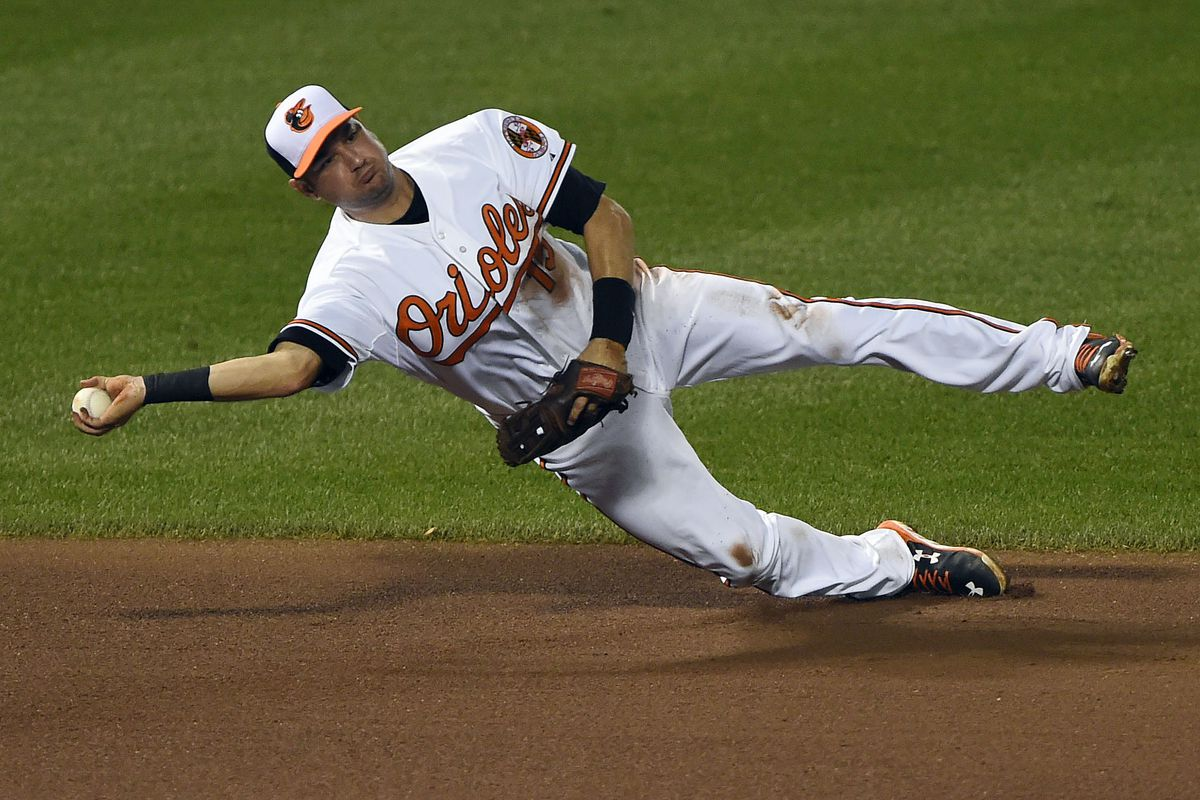 Paul Janish, doing his best to keep the Orioles upright.