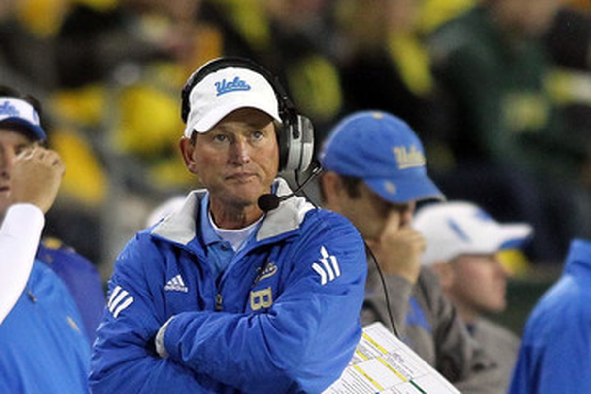 UCLA coach Rick Neuheisel is on the hot seat to get the Bruins to a bowl game in 2011.